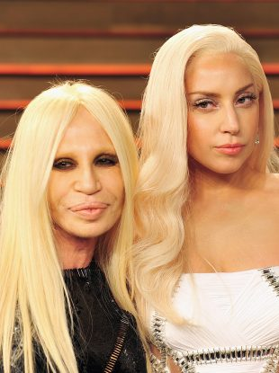 Donatella Versace and Lady Gaga twinning at the 2014 Vanity Fair Oscar Party.