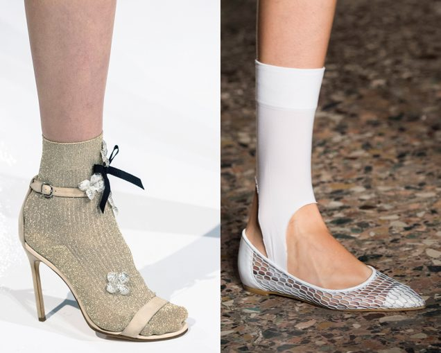 Fun socks on the runway at Reem Acra Spring 2017, Alberto Zambelli Spring 2017; Images: Imaxtree