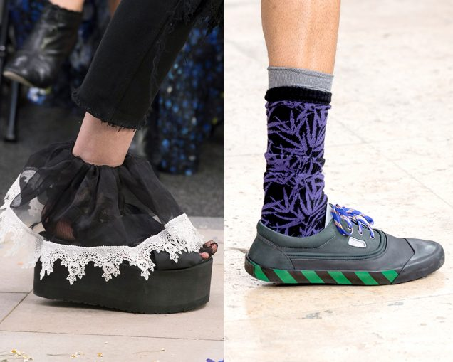 Fun socks on the runway at Preen Spring 2017, Lanvin Spring 2017; Images: Imaxtree
