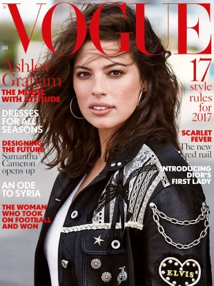 UK Vogue January 2017 : Ashley Graham by Patrick Demarchelier