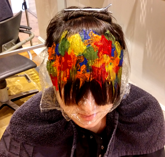 sponging hair color technique from The Chapel