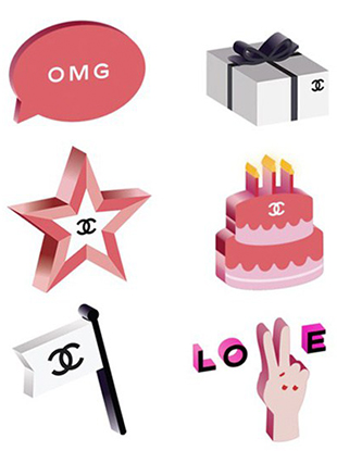 This Tuesday, in celebration of its new Rouge Coco glosses, French fashion house Chanel released a set of pink-tinged, double-C branded emojis.