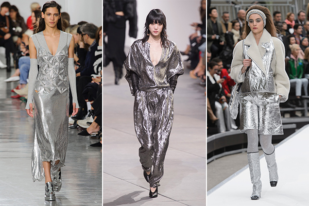 Head-to-toe silver was a major trend on the Fall 2017 runways.