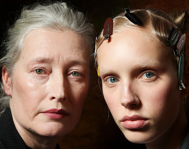 Marie-Sophie Wilson and Jessie Bloemendaal backstage at Simone Rocha Fall 2017.