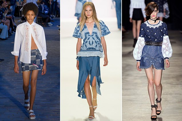 Jean skirt outfits from Paul & Joe Spring 2017, Jonathan Simkhai Spring 2017, Andrew GN Spring 2017