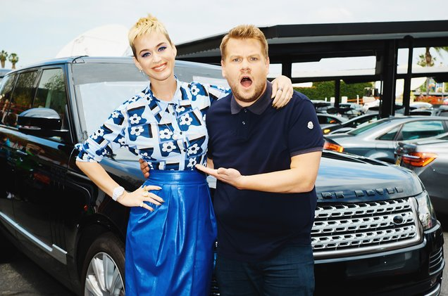 "Katy Perry and ""The Late Late Show"" host James Corden sing Carpool Karaoke."