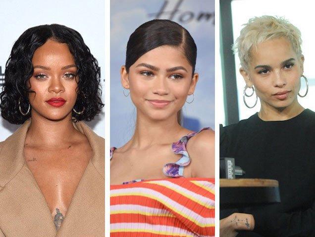 Rihanna, Zendaya and Zoë Kravitz rock hoop earrings.