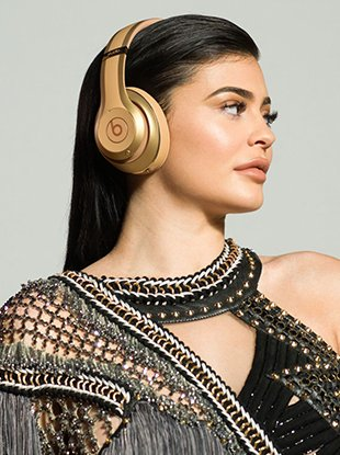The Balmain x Beats By Dre campaign imagery stars Kylie Jenner.