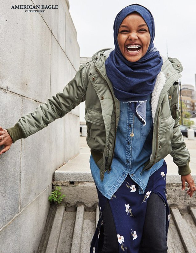 "Muslim model Halima Aden fronts American Eagle Outfitters' ""I Can"" campaign."