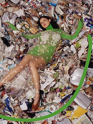 In Stella McCartney's Fall 2017 campaign, models Birgit Kos, Iana Godnia and Huan Zhou pose in a landfill in Eastern Scotland.