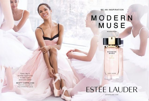 Misty Copeland in a Modern Muse ad.