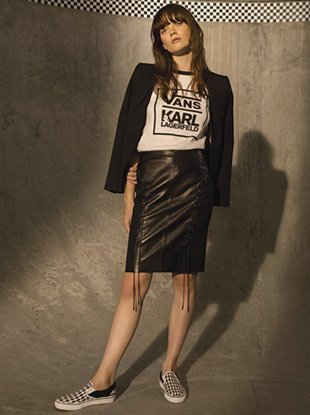 A look from the Vans x Karl Lagerfeld collection.