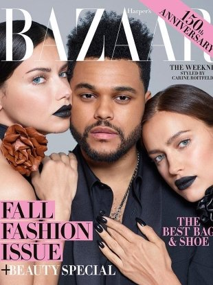 US Harper's Bazaar September 2017 : The Weeknd, Adriana & Irina by Brigitte Lacombe