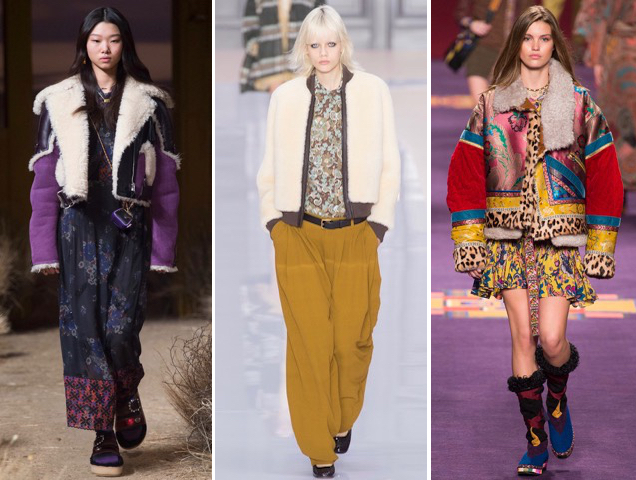 Coach 1941, Chloe and Etro show shearling jackets some love for Fall 2017.