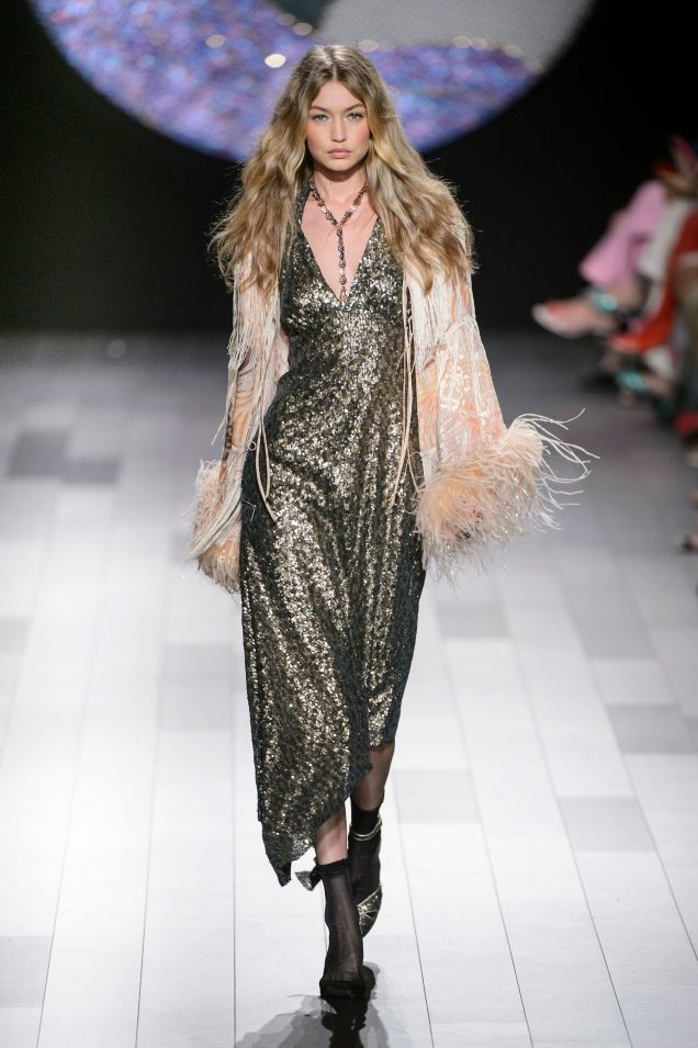 Gigi Hadid on the Anna Sui Spring 2018 runway.