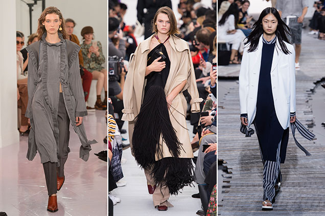 dresses worn over pants at Chloé Spring 2018, Céline Spring 2018, Michael Kors Spring 2018