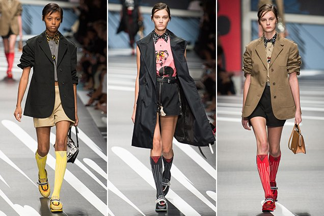 Knee-high socks and coordinating Cloudbusts on the Prada Spring 2018 runway.