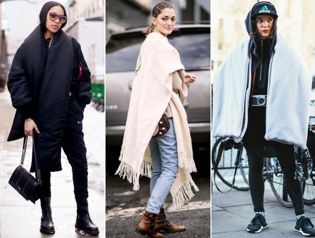 Street style stars show how to wear a blanket scarf this season.
