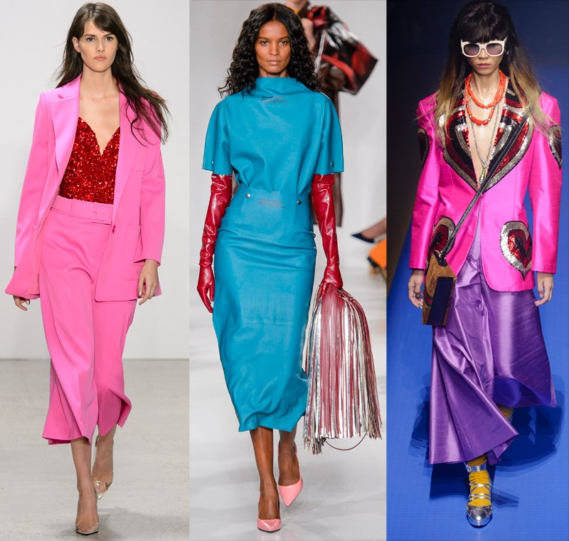 Bold color combinations on the Spring 2018 runways at Oscar de la Renta, Calvin Klein, Gucci