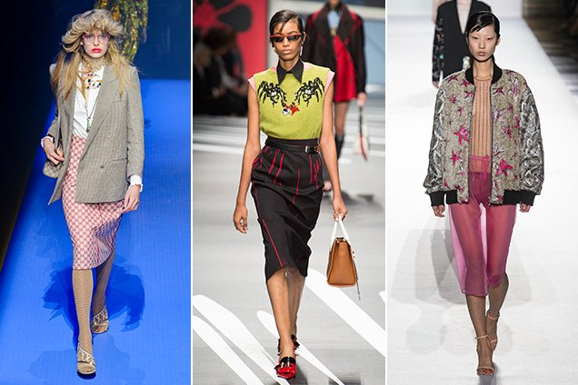 Pencil skirts on the Spring 2018 runways at Gucci Spring 2018, Prada Spring 2018, Dries Van Noten Spring 2018.