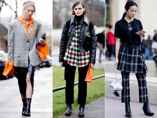 Checks on the street. The street style set cashing in on the check tren