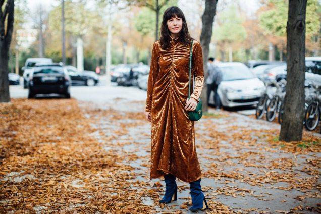 ruched velvet dress, street style