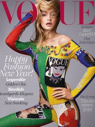 Vogue Germany January 2018 : Gigi Hadid by Patrick Demarchelier