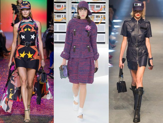 Baseball caps as accessories for Spring 2017. Elie Saab Spring 2017, Chanel Spring 2017, Versus Versace Spring 2017