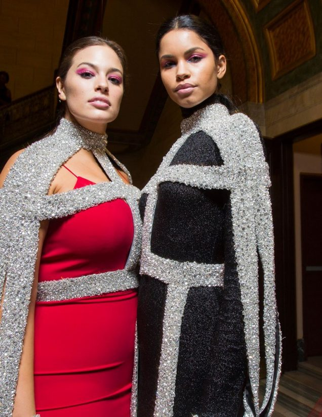 Ashley Graham and Daiane Sodré at Christian Siriano Fall 2018.