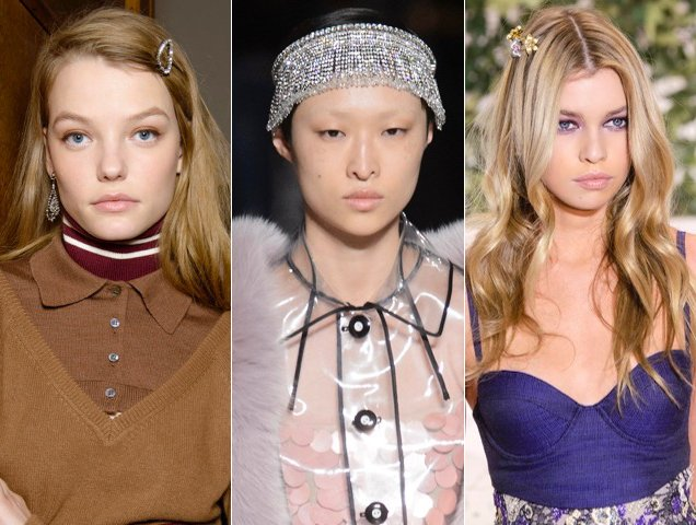Fall 2017 was also full of flashy hair accessories.  Here's How Celebs Are Wearing the Runway's Glitzy Hair Accessories Trend on the Red Carpet Bling Hairstyles Fall 2017 Runway