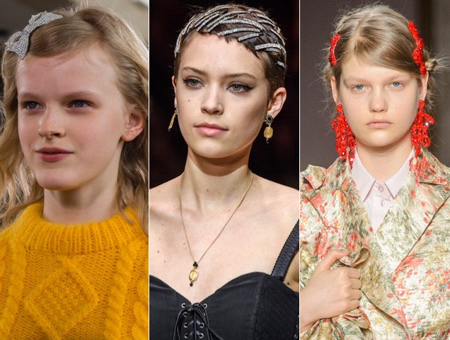The Fall 2018 runways were glitz central.  Here's How Celebs Are Wearing the Runway's Glitzy Hair Accessories Trend on the Red Carpet Bling Hairstyles Fall 2018 Runway