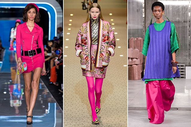 Hot pink on the Fall 2018 Milan runways Moschino Fall 2018, Dolce & Gabbana Fall 2018, Marni Fall 2018