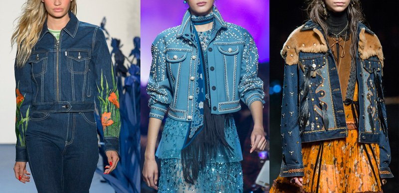 Denim jackets on the Spring 2018 runways at Adam Selman, Elie Saab and Coach