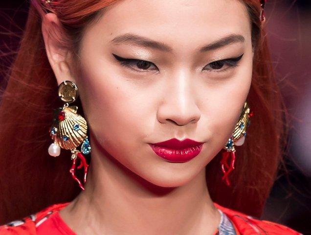 Shell earrings at Dolce & Gabbana Spring 2018