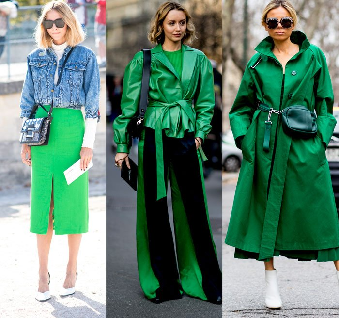 The street style set wearing kelly green