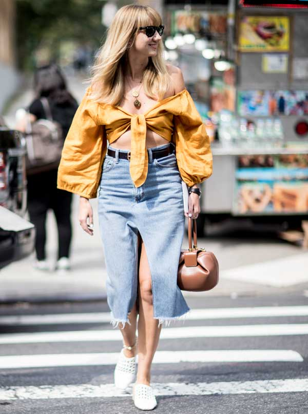 cropped blouse street style NYFW Spring 2018