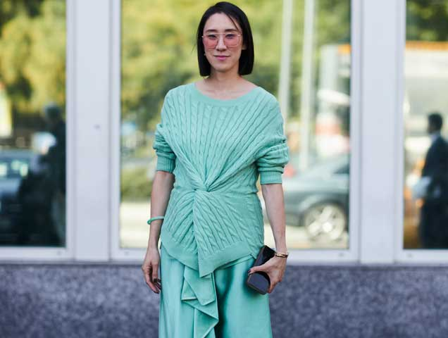Head to toe mint green at Milan Fashion Week