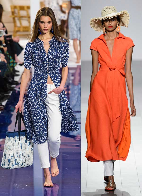 Shirtdresses on the Spring 2018 runways at Ralph Lauren and Badgley Mischka