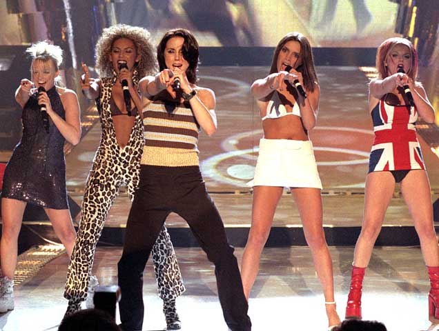 Spice Girls performing; Ginger Spice Union Jack outfit
