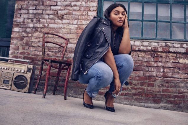 Paloma Elsesser for 7 For All Mankind Fall 2018.