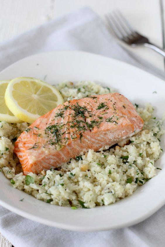 Salmon With Lemon and Herb Cauliflower Rice