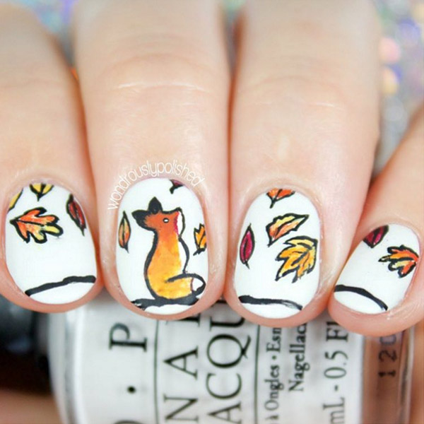 47 fall nail art ideas we cant wait to try thefashionspot fox fingertips marble nails prinsesfo Choice Image