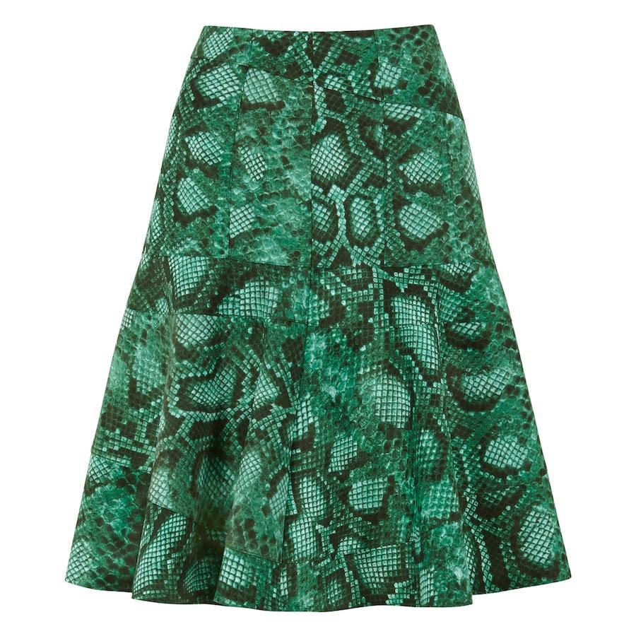 Flounce Skirt In Green Python
