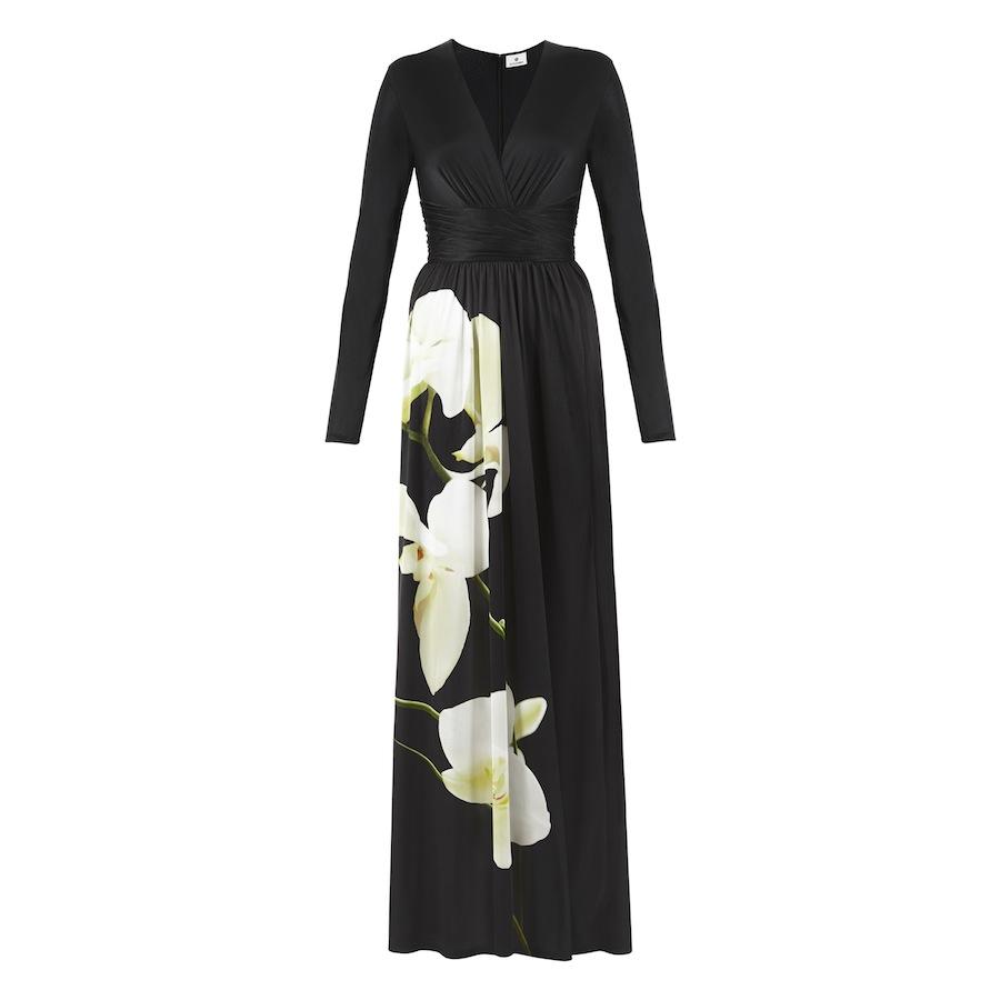 Maxi Dress in Black Orchid Print