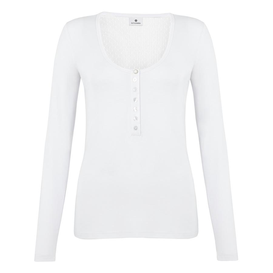 Swiss Dot Henley In White