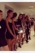Models line up at casting