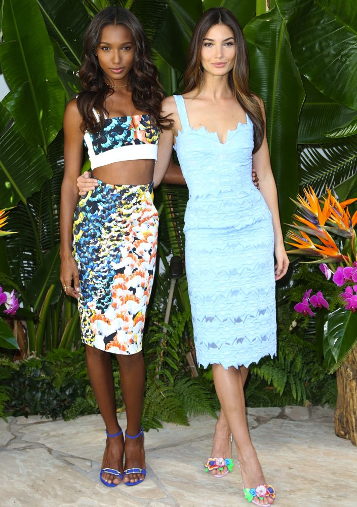 Jasmine Tookes and Lily Aldridge at the Victoria's Secret Swim Special for Spring 2015 Celebration