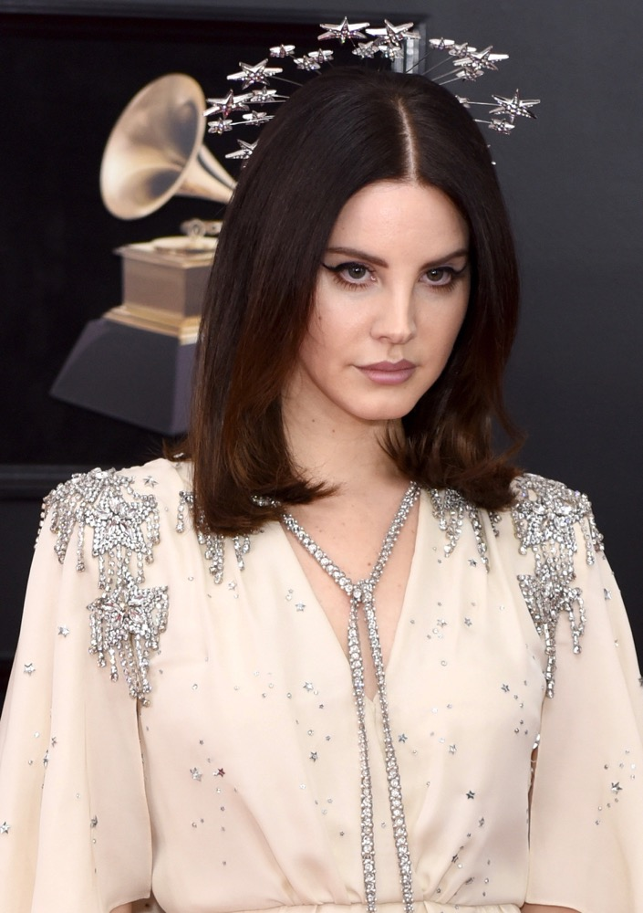 Lana Del Rey  Here's How Celebs Are Wearing the Runway's Glitzy Hair Accessories Trend on the Red Carpet bling hairstyles lana del rey grammys