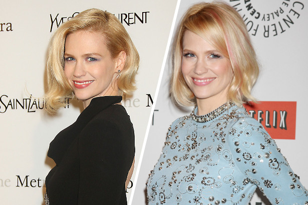 January Jones' Pink Streaks
