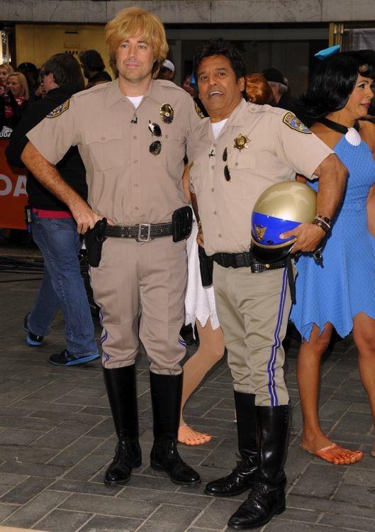 Carson Daly and Erik Estrada Filming The Today Show Halloween Episode